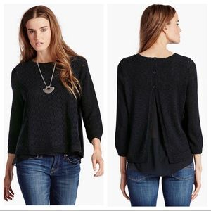 Lucky Brand Mixed Media Pullover Black Sweater XL